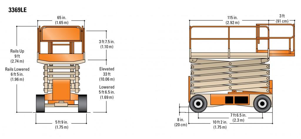Plateforme Hydraulique - 33 U0026 39   39 U0026 39  - Jlg 3369le